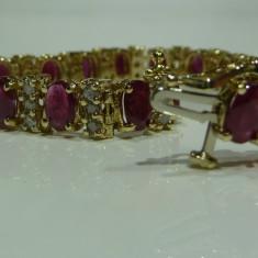 Bratara din aur, 14 carate - Bratara aur 14k cu Rubine si Diamante