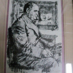 STERIADI. AMATORUL DE TABLOURI. LITOGRAFIE ORIGINALA SEMNATA SI DATATA DREAPTA JOS, STERIADI 1942