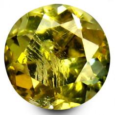 Bijuterie Pietre pretioase - * Piatra naturala Tanzanit (Zoisit) galben rotund - netratat 1, 07 ct - certificat