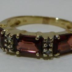 Inel aur 14k cu garnet si diamante, Culoare: Galben, 46 - 56