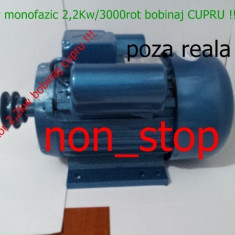 Motor electric 2, 2 KW/3000Rot - motoare 2, 2kw Bobinaj Cupru, motor moara cereale