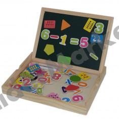 Tabla din lemn cu doua fete, cifre si simboluri magnetice - Jocuri Litere si Cifre
