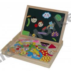 Tabla din lemn cu doua fete si simboluri magnetice - Jocuri Litere si Cifre