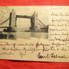 Ilustrata- Poduri- Tower Bridge, stamp. Birou Britanic Constantinopol 1898, Circulata, Printata