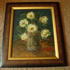 Tablou ulei pe carton, autor roman, tematica flori, semnat Constantin, Impresionism