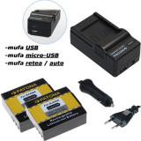 PATONA   Incarcator 4in1 USB + 2 Acumulatori pt SJ4000 SubTig3   900mAh - Baterie Aparat foto