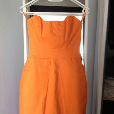 Rochie mini FRENCH CONNECTION UK - Rochie de club French Connection, Culoare: Orange, Marime: XS, Fara maneca, Bumbac