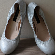 Balerini dama, Piele naturala - Balerini piele gri-argintie, Musette Cristhelen B.