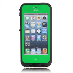 Husa, iPhone 5/5S, Verde - Toc subacvatic verde impermeabil cu prelungitor casti audio iPhone 5 + folie