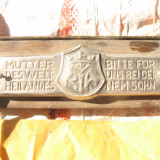 Placheta alama cu blazon pe suport de lemn germana - Metal/Fonta