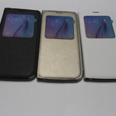 Husa Flip Cover AURIU -ALB -NEGRU -S-VIEW SAMSUNG GALAXY S6 EDGE - Husa Telefon Momax, Piele