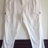 Pantaloni dama, Lungi, Bumbac - Pantaloni casual albi dama