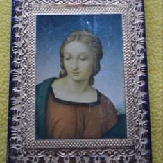 Icoana veche rama sculptata / Icoana ITALY / Icoana Fecioara Maria - Icoana litografiate