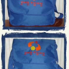 Geanta Barbati, Geanta tip postas, Panza - Geanta tip postas albastra din material textil - NOU