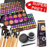Trusa make up - Trusa machiaj paleta farduri profesionala MAC 183 culori + set 12 pensule make up Bobbi Brown + Cadou eyeliner tus gel ochi negru