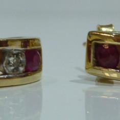 Cercei aur 10k cu ruby