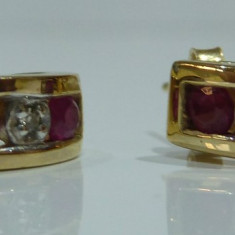 Cercei aur 10k cu ruby, Carataj aur: 9K, Culoare aur: Galben