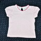 Haine Copii 1 - 3 ani, Tricouri, Fete - Tricou alb cu buline, marca Matalan, fetite 12-18 luni