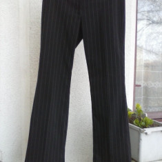 Pantaloni negri cu dungulite albe H&M mas. 40 - Pantaloni dama H&m, Lungi