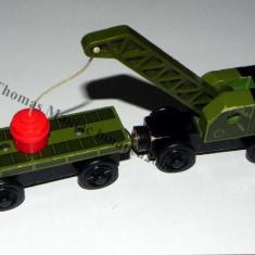 Wooden trenulet jucarie Thomas - BREAKDOWN TRAIN & FLATBED CAR vagon din lemn cu magnet - 100% original - RAR - Trenulet de jucarie Thomas Wooden, Unisex