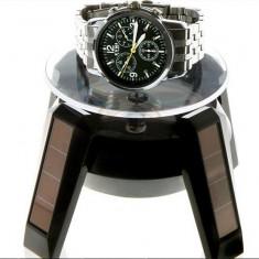 Stand rotativ Suport rotativ ceasuri bijuterii cu Incarcare Solara avand 4 leduri