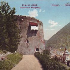 Romania, Brasso, Brasov carte postala circulata 1911: Detaliu, Drumul Regal, Fotografie