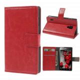 Husa Piele PU Rosie Cu Suport Card Si Stand LG P715 Optimus L7 2 Dual Duet+