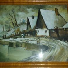Tablou artistic pictat pe panza, deosebit, rama lemn + geam +CADOU!