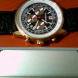 Ceas Stratosphere cronograph - Ceas barbatesc, Lux - sport, Quartz, Placat cu aur, Piele, Cronograf