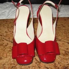 Sandale dama, Marime: 37, Piele naturala, Rosu - PANTOFI SANDALA ROSII DIN PIELE LACUITA 37
