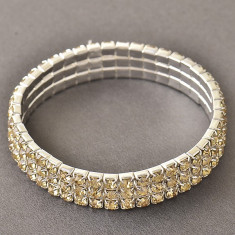 Bratara elastica placata cu aur 14K; lungime reglabila, 1.1 cm latime - Bratara placate cu aur
