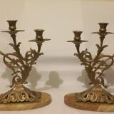 Sfesnice din alama masiva si marmura, model deosebit. 35cm - Metal/Fonta