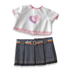 Set bluza si fusta denim pentru papusi Miniland 21 cm - Vehicul