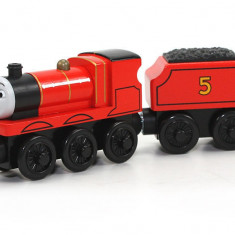 Trenulet de jucarie Fisher Price, 4-6 ani, Lemn, Unisex - Locomotiva James, colectia Thomas si prietenii sai, Fisher Price