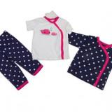 Set hainute 3 piese pentru bebelusi Balenele roz - BBN1204
