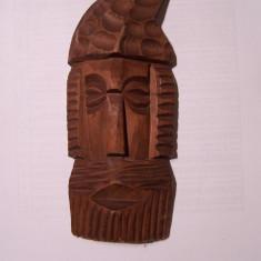 Sculptura in lemn (masca), artizanala, populara, traditionala, decorativa