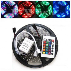 Iluminat decorativ - Banda LED impermeabila 3528 multicolora RGB telecomanda 24 taste 60 LED m 5 m