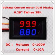 Voltmetru si Ampermetru digital 100 V 10 A rosu - albastru - shunt (sunt) inclus - Indicator