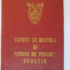 CARNET DE MEMBRU SI PERMIS DE PESCUIT SPORTIV A.V.P.S. DINAMO BUCURESTI ANII 80 - Pasaport/Document