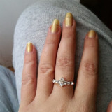 Inel placate cu aur - Superb inel 9K GOLD FILLED cu Zircon CZ . Marimea 6.5