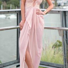 Rochie de seara - T396-5 Rochie lunga eleganta, accesorizata cu dantela si crapatura in fata