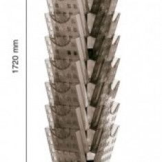 Display modular rotativ, 30 x A4, pentru pliante, HELIT - transparent cristal - Calendar