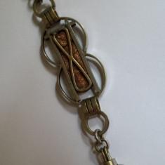 Lant Ceas de Buzunar Vechi Splendid executat manual model Rar de Efect