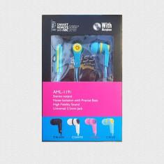Casti audio stereo smart remote cu microfon model AML-II9i diverse culori!! - Casti JVC, Casti In Ear, Cu fir, Jack 3, 5mm, Active Noise Cancelling