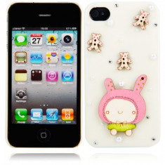 Cartoon Doll Style Protective Hard Back Cover Case for iPhone 4/4S Milky WW87008230 Apple