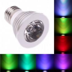 Bec/neon - Spot LED E27 3W 16 culori reglare intensitate cu telecomanda AL131