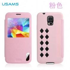 Husa Flip Usams Cloud Series S-View Samsung Galaxy S5 Roz - Husa Telefon Oem