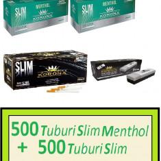 Foite tigari - Mix KORONA SLIM + APARAT SLIM - 1000 tuburi pentru tigari, filtre tigari