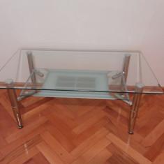 Masa living - Masuta din sticla temperizata, rezistenta cu picioare inoxidabile
