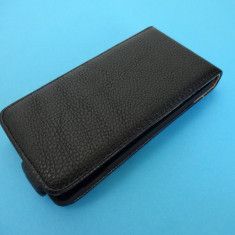 Husa Sony Xperia M Flip Toc Clapeta Inchidere Magnetica Piele ECO Folie CADOU - Husa Telefon Sony, Alb, Piele Ecologica